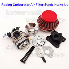 Red Racing Carburetor Air Filter Stack Kit For 47 49cc Mini Dirt Pocket Bike ATV