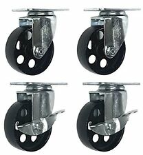 """Lot of 4 All Steel Swivel Plate Casters and 2 with Brake Lock 3.5"""" Wheel 1300lb"""