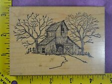 RUSTIC BARN Art Impressions country scene landscape trees rubber stamp #2852