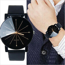 NEW Men's Stainless Steel Military Quartz Dial Leather Wrist Watch Uomo Orologio