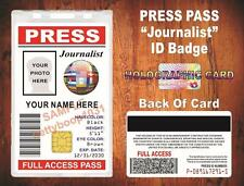 Press Pass (Journalist) ID Card / Badge - {Custom Printed w Your Photo & Info}