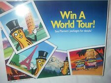 VINTAGE RARE MR PEANUT PLANTERS PEANUT STORE PROMO SIGN  WORLD TOUR ADVERTISING
