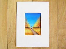 ACEO MOUNTED WATERCOLOUR PAINTING, ART CARD BY SARAH FEATHERSTONE, AUTUMN WALK