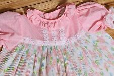 EUC Vintage Childs JC Penney Baby Doll Style Dress Pink Ribbed USA Made Size 3