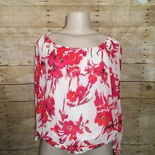 Debbie Shuchat Red Floral Blouson Long Batwing Sleeve Womens Blouse Top Small