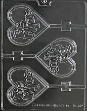 LARGE BE MINE HEART LOLLY POP mold molds Chocolate Candy heart valentines