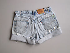 Vintage Levi's 550 High Waist Cut Off Denim Shorts Boyfriend Jeans Blue 35""
