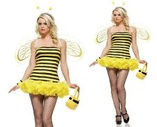 Honey Bee Costume, Leg Avenue S/M (8-10), Wasp, Black/Yellow Insect Fancy Dress