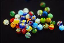50Pcs DIY Jewelry Bracelet Findings Beautiful Flower Millefiori Glass Beads 8mm