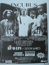 """INCUBUS / THE BRAVERY 2007 """"LIGHT GRENADES WORLD TOUR"""" SAN DIEGO CONCERT POSTER"""