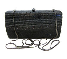 AnthonyDavid Jet Black Crystal Evening Bag Clutch Purse w/ Swarovski Crystals