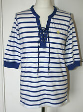 Maine UK14 EU42 new blue/white stripe top with lace-up neckline & short sleeves