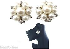 Beautiful Crystal and Pearl Cluster CLIP ON Earrings Bridal Prom Wedding Studs