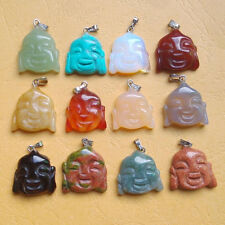 Fashion Carved Natural Stone Mixed buddha Pendants Charms 12pcs/lot Wholesale