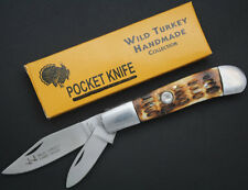 Wild Turkey Handmade Dual Blade Bone Handle Survival Folding Pocket Knife