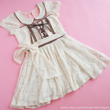 LIZ LISA Cream&Chocolate Valentine Limited Puff Lolita Dress Frill Size0 Japan