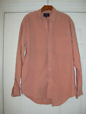 E. LAND CASUAL DRESS SHIRT SIZE XL PINK MOTIF 100% COTTON LONG SLEEVES