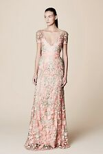 Marchesa Notte  Short Sleeve Guipure Lace Gown Size 0