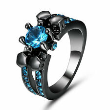 4ct Lab Aquamarine Princess 10K Black Gold Filled Wedding Skull Ring Women's Sz7