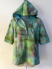 Green Tea NWT Womans Size Large Floral Hooded Jacket Hoodie Short Sleeve