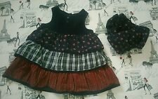 Baby gap 3-6 M baby girl navy ruffled dress patchwork flowers bloomers set EUC