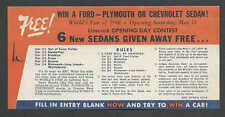 1940 NY WORLDS FAIR WIN A FORD CHEVROLET OR PLYMOUTH ON OPENING DAY SEE INFO