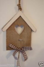 Hanging Decorative Bird House with Hanging Hearts and Silver Bells