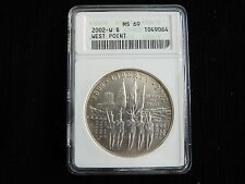 2002-W WEST POINT BICENTENNIAL COMMEMORATIVE SILVER $1 DOLLAR ~ ANACS MS69