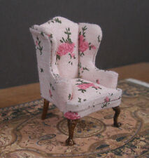 "HALF  SCALE ~ 1/2""  scale WING   BACK  CHAIR ~ Dollhouse~ Room Box ~ 1/24 scale"
