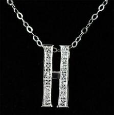 Stunning 925 Sterling Silver & Cubic Zirconia Initial Letter H Pendant Necklace