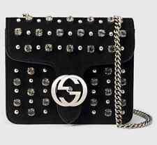 Gucci Interlocking Studded &Crystal Stones Suede Shoulder Bag Black, MSRP $2,100