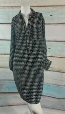 The Limited Black White Geo Print Shirtdress Roll Tab Sleeve M Medium