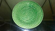 Scarce Antique Bordallo Pinheiro Green Majolica Oak Leaf Plate C 1860+