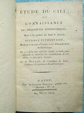 MOLLET : ETUDE DU CIEL OU PHENOMENES ASTRONOMIQUES, 1803 (sans les 6 planches).