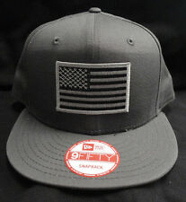 New Era NE400 Charcoal Gray Snapback Hat/Cap With Grey American Flag Patch NEW