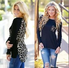 New Women's Fashion Casual Top T Shirt Loose Blouse Long Sleeve Cotton,L