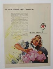 Original Print Ad 1943 TEXACO Just Eleven Hours on earth Mother Daughter Artwork