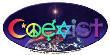 Coexist With Rainbow Lettering - Oval Window Art Sticker / Decal