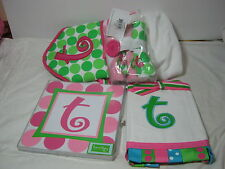 """7 pcs MUDPIE INITIAL """"T """" Hooded Bath Towel Burp Cloth Wall Hanging Wash Clothes"""
