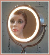 Pedestal Magnifying Round Dual Sided Lighted Swivel Vanity Make Up Mirror