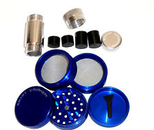 SMART CRUSHER Blue 5 Piece Titanium Coffee Tobacco Herb Grinder + Press Combo
