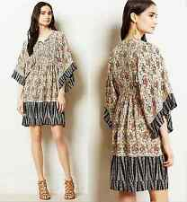 Anthropologie Tolani Beaded Silk Kimono Tunic Dress S/M Gorgeous Color & Detail