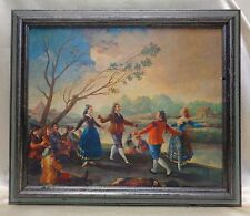 Vintage Gathered People Dancing Picture on Canvas in Vintage Decor Wood Frame