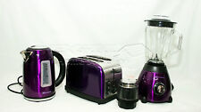 Purple 1.7L Cordless Electric Kettle +Wide Bread Slice Toaster +500W Blender Set