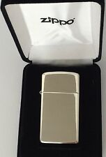 High Polished Slim Zippo Sterling Silver Lighter, Item #1500, Engraved Free, NIB