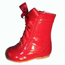 BABY-INFANT GIRLS SEVVA SPANISH PATENT LEATHER RIBBON LACE UP BOOTS ALL COLORS