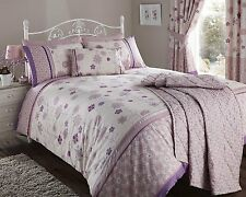 DOUBLE BED DUVET COVER SET FLEUR MAUVE FLORAL STRIPE POLYCOTTON BORDER ELEGANT