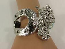 Women Silver Metal Cuff Bracelet Fashion Jewelry Rodeo Horse Shoe Rhinestones