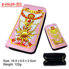 Anime Card Captor Sakura The Clow Long Zip Wallet Purse Coin Bag Cosplay Pink