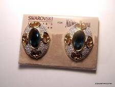 NOS SWAROVSKI Jewellers Collection Crystal & Large Blue Rhinestone Clip Earrings
